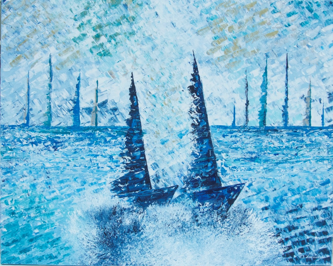 Eleni Sameli Varouxakis, Couleurs d'été 3,Acrylics on canvas