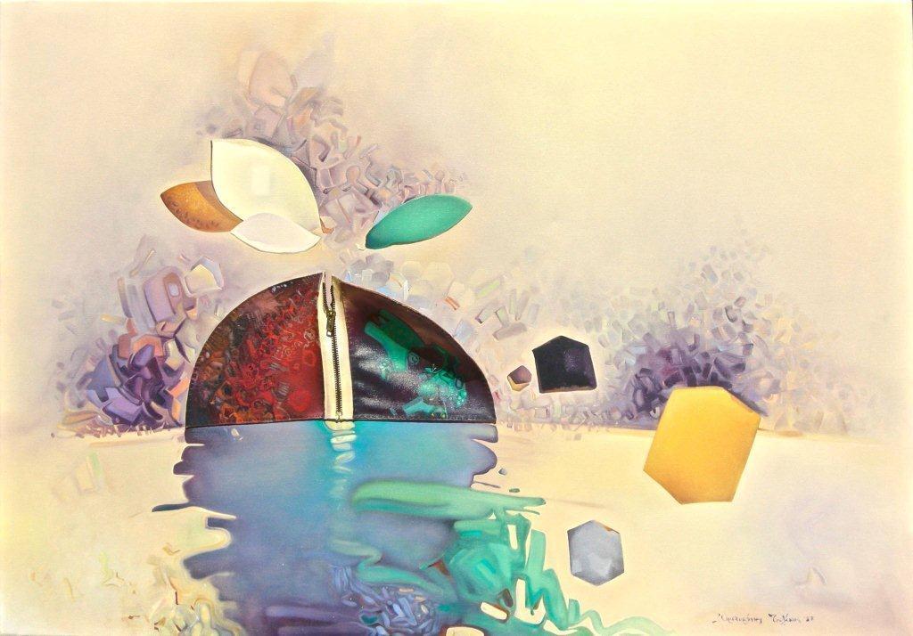 ΤΣΟΛΑΚΗΣ ΑΡΙΣΤΟΜΕΝΗΣ,'Ανασύσταση Κβαντικής μνήμης', λάδι σε μουσαμά και συρραφή φερμουάρ, 70χ100εκ., 1987.