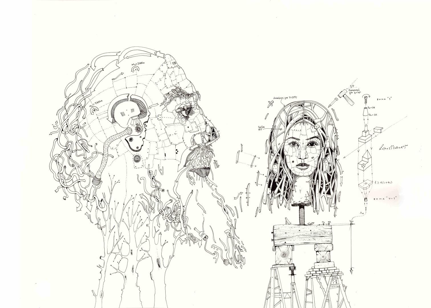 Γεράσιμος Θωμάς, Ιδεών ευάρμοσις_ Ποιητής και έπος, 50x70cm, Σινική μελάνι σε χαρτί