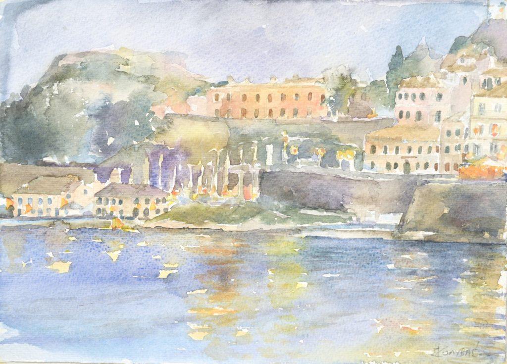 Κολυβάς Σπύρος, Κέρκυρα, 26x36cm, Υδατογραφία